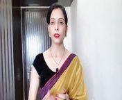 Indian Desi Bhabhi Wearing Yellow Saree In Front Of Devar from saree in suhagraat